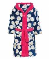Blauw roze badjas ochtendjas margriet bloemenprint voor kinderen