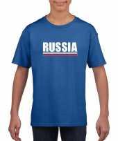 Blauw rusland supporter t-shirt voor kinderen