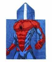 Blauwe marvel spiderman badcape met capuchon voor jongens