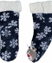 Blauwe warm gevoerde rendier kerst huissokken voor kinderen