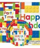 Bouwstenen thema kinderfeestje versiering pakket 9 16 personen