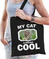 Bruine kat katten tasje zwart volwassenen en kinderen my cat serious is cool kado boodschappentasj