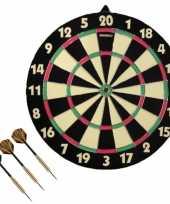 Dart dartbord dubbelzijdig 42 cm voor kinderen met 3x dartpijltjes van 19 gram