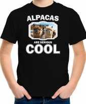 Dieren alpaca t-shirt zwart kinderen alpacas are cool shirt jongens en meisjes