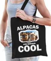 Dieren alpaca tasje zwart volwassenen en kinderen alpacas are cool cadeau boodschappentasje