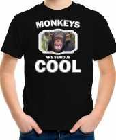Dieren chimpansee t-shirt zwart kinderen monkeys are cool shirt jongens en meisjes