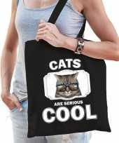 Dieren coole poes tasje zwart volwassenen en kinderen cats are cool cadeau boodschappentasje