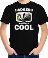 Dieren das t-shirt zwart kinderen badgers are cool shirt jongens en meisjes