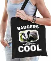 Dieren das tasje zwart volwassenen en kinderen badgers are cool cadeau boodschappentasje