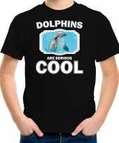 Dieren dolfijn t-shirt zwart kinderen dolphins are cool shirt jongens en meisjes