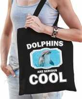 Dieren dolfijn tasje zwart volwassenen en kinderen dolphins are cool cadeau boodschappentasje
