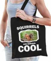 Dieren eekhoorntje tasje zwart volwassenen en kinderen squirrels are cool cadeau boodschappentasje