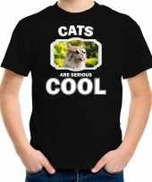Dieren gekke poes t-shirt zwart kinderen cats are cool shirt jongens en meisjes
