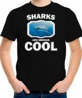Dieren haai t-shirt zwart kinderen sharks are cool shirt jongens en meisjes