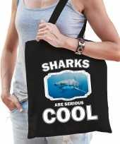 Dieren haai tasje zwart volwassenen en kinderen sharks are cool cadeau boodschappentasje