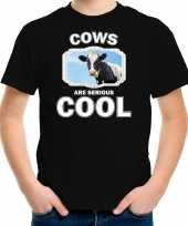 Dieren koe t-shirt zwart kinderen cows are cool shirt jongens en meisjes