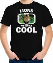 Dieren leeuw t-shirt zwart kinderen lions are cool shirt jongens en meisjes