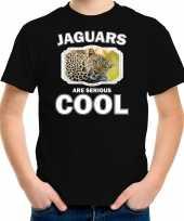 Dieren luipaard t-shirt zwart kinderen jaguars are cool shirt jongens en meisjes