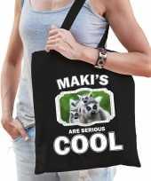Dieren maki tasje zwart volwassenen en kinderen makis are cool cadeau boodschappentasje
