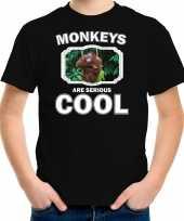 Dieren orangoetan t-shirt zwart kinderen monkeys are cool shirt jongens en meisjes