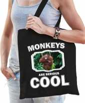 Dieren orangoetan tasje zwart volwassenen en kinderen monkeys are cool cadeau boodschappentasje