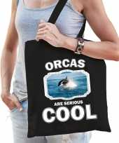 Dieren orka tasje zwart volwassenen en kinderen orcas are cool cadeau boodschappentasje