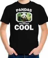 Dieren panda t-shirt zwart kinderen pandas are cool shirt jongens en meisjes