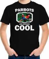Dieren papegaai t-shirt zwart kinderen parrots are cool shirt jongens en meisjes