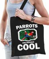 Dieren papegaai tasje zwart volwassenen en kinderen parrots are cool cadeau boodschappentasje
