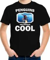 Dieren pinguin t-shirt zwart kinderen penguins are cool shirt jongens en meisjes