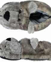 Dieren sloffen pantoffels beer grijs voor kinderen
