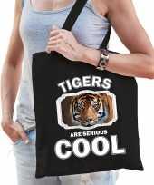 Dieren tijger tasje zwart volwassenen en kinderen tigers are cool cadeau boodschappentasje