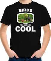 Dieren toekan t-shirt zwart kinderen birds are cool shirt jongens en meisjes