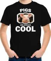 Dieren varken t-shirt zwart kinderen pigs are cool shirt jongens en meisjes