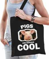 Dieren varken tasje zwart volwassenen en kinderen pigs are cool cadeau boodschappentasje