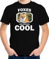 Dieren vos t-shirt zwart kinderen foxes are cool shirt jongens en meisjes