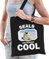 Dieren witte zeehond tasje zwart volwassenen en kinderen seals are cool cadeau boodschappentasje