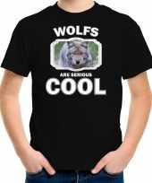 Dieren wolf t-shirt zwart kinderen wolfs are cool shirt jongens en meisjes