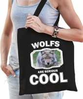 Dieren wolf tasje zwart volwassenen en kinderen wolves are cool cadeau boodschappentasje