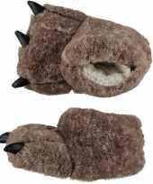 Dierenpoot sloffen pantoffels beige monsterpoten voor kinderen