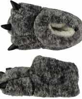 Dierenpoot sloffen pantoffels grijze monsterpoten voor kinderen