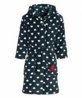 Donkerblauwe badjas ochtendjas met hartjesprint voor kinderen