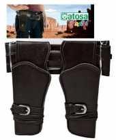 Dubbele cowboy holster donkerbruin met brede riem verkleed acces