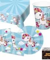 Eenhoorn kinderfeestje versiering tafel pakket 8 pers kaart