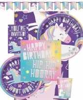 Eenhoorn themafeest kinderfeestje decoratie pakket 8 personen