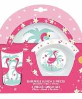 Flamingo thema plastic kinderservies set 3 delig bord kom beker