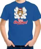 Fout kerst t-shirt outfit met hamsterende kat merry christmas blauw voor kinderen