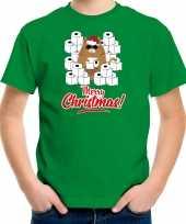 Fout kerst t-shirt outfit met hamsterende kat merry christmas groen voor kinderen