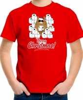 Fout kerst t-shirt outfit met hamsterende kat merry christmas rood voor kinderen