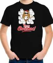 Fout kerst t-shirt outfit met hamsterende kat merry christmas zwart voor kinderen
